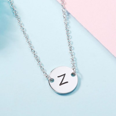 Personalized Engraved Coin Necklace Initial Necklace
