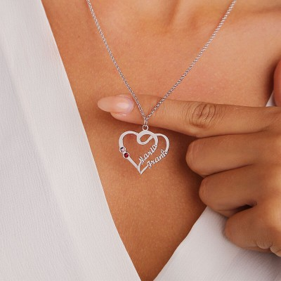 Personalized Couple Heart Names Necklace With Birthstones