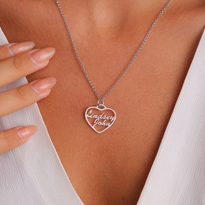 Personalized Heart Shape 2 Names Necklace Couples Necklace