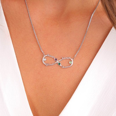 Personalized Infinity Name Necklace With Birthstones