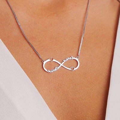 Personalized Double Heart Infinity Names Necklace Couples Necklace
