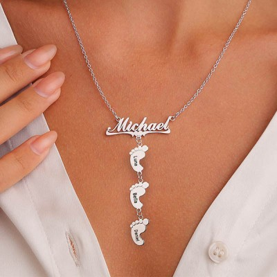 Personalized Mom's Name Necklace With 1-10 Baby Feet Pendants Gift for Mom