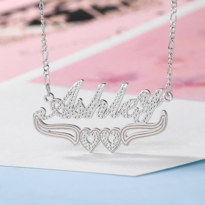 Personalized Two-Color Name Necklace with Heart Decoration Below
