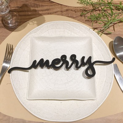 Set of 4 Merry Wooden Place Cards For Christmas Table Decor
